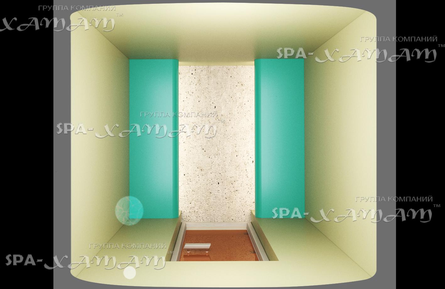 Каркас хамама в ванной комнате без отделки на двух человек